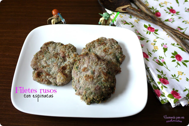 Filetes rusos con espinacas