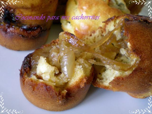 magdalenas saladas de cebolla caramelizada
