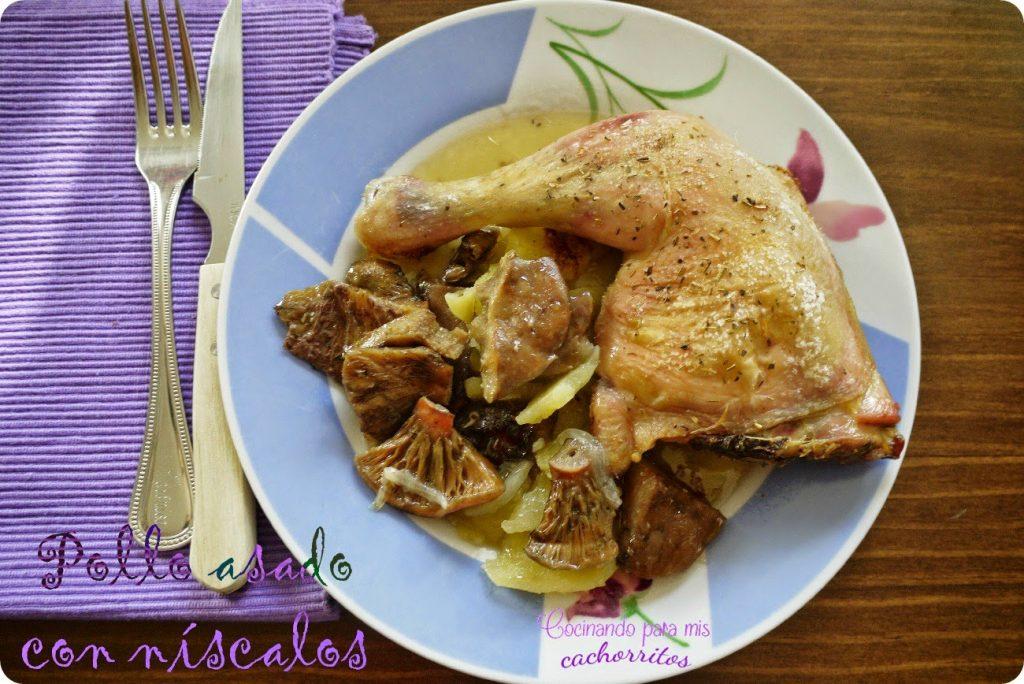 Pollo asado con níscalos. Cómo hacer pollo asado muy sabroso.