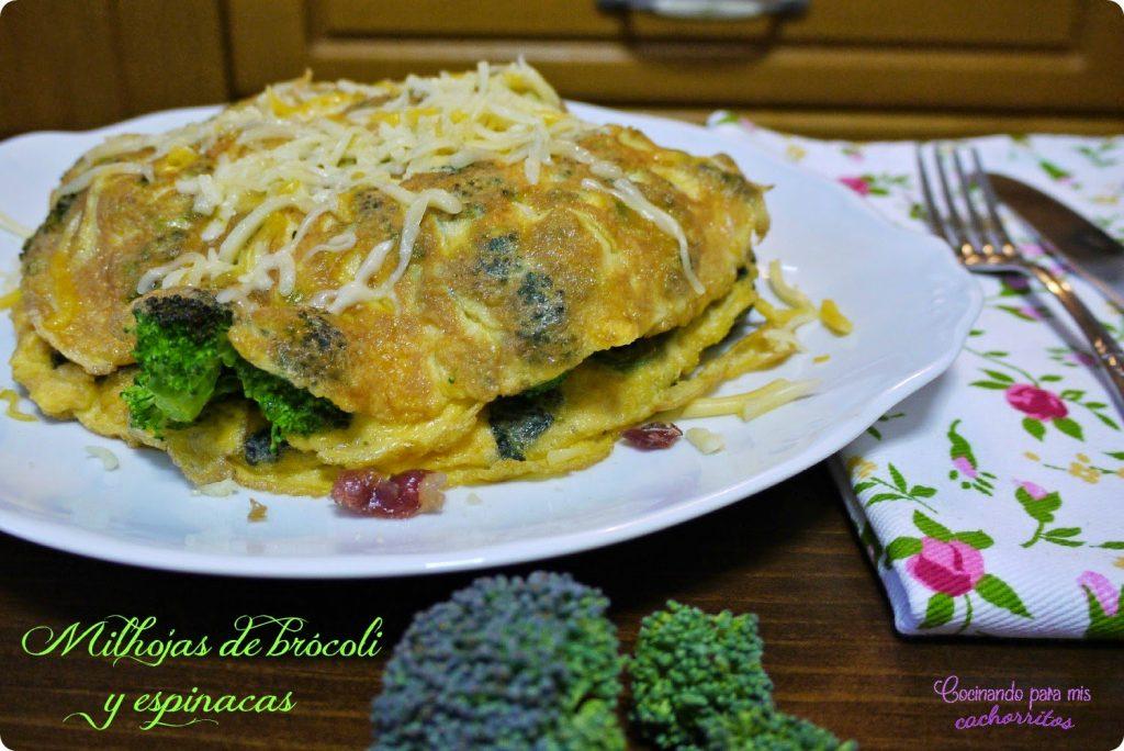 milhojas de brócoli y espinacas