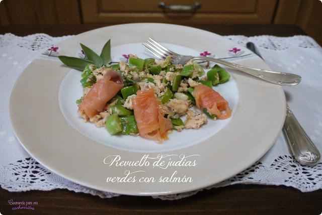 Revuelto de judías verdes con salmón