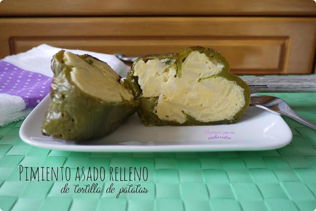 Pimiento asado relleno de tortilla de patatas