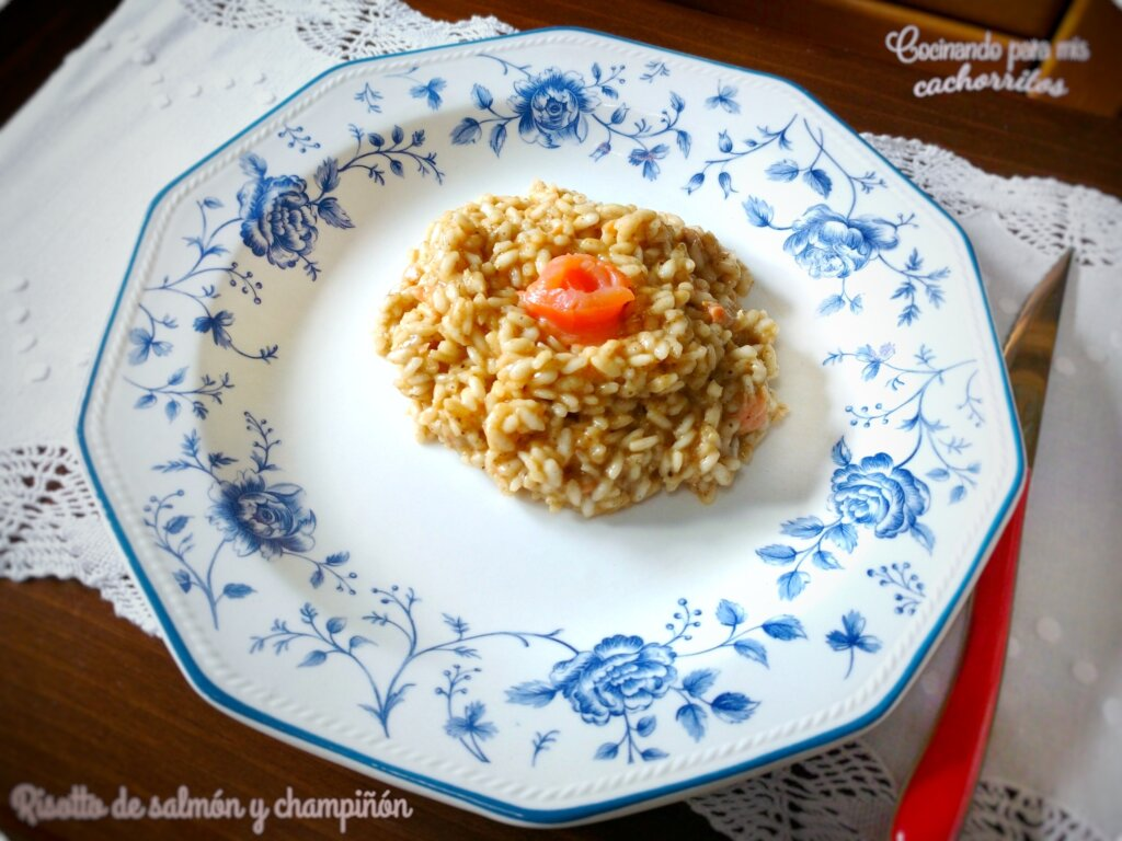 risotto de salmón y champiñones