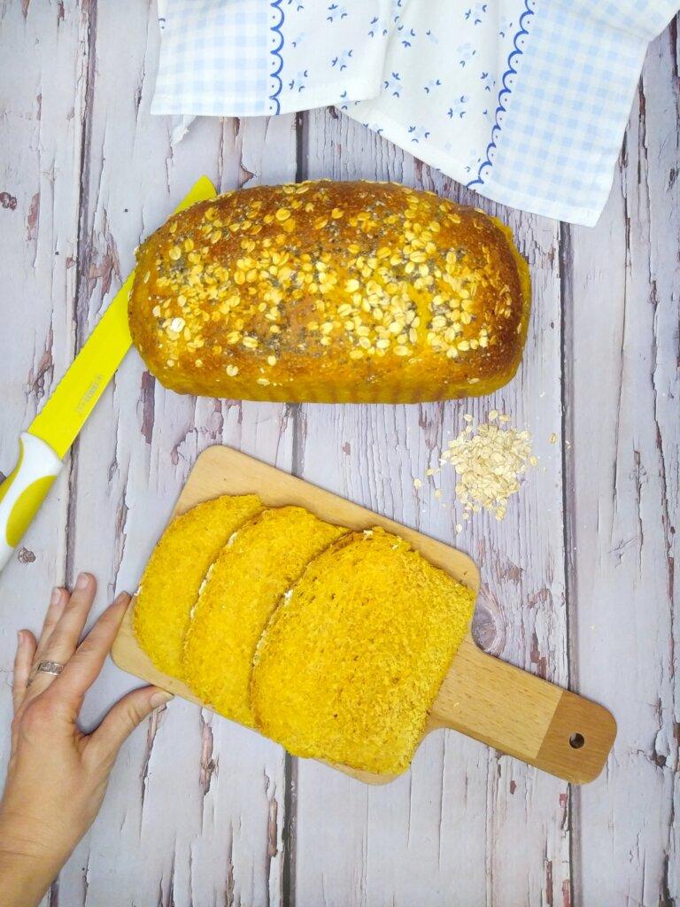 pan de molde integral con calabaza