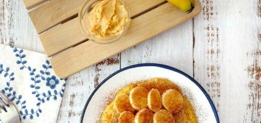 Tortitas con plátano y mantequilla de cacahuete