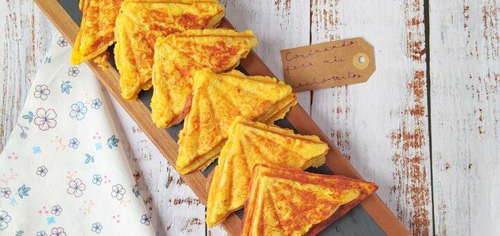 Tortilla de patata ligera en sandwichera